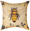 "BEE THROW PILLOW - 18"" SQUARE - INDOOR OUTDOOR PILLOW"