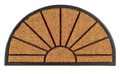"SUNBURST DEMILUNE RUBBER BACKED COIR DOORMAT - 18"" x 30"" -  DOOR MAT - WELCOME MAT"
