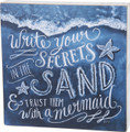 """SECRETS IN THE SAND"" DECORATIVE WOODEN WALL SIGN - MERMAID - NAUTICAL DECOR"