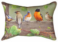 """FEATHERED FRIENDS #2"" OBLONG BIRD PILLOW - 18"" X 13"" - INDOOR OUTDOOR PILLOW"
