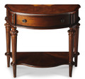 FAIRFIELD PARK INLAY CONSOLE TABLE - DEMILUNE MARQUETRY TABLE-  NUTMEG FINISH - FREE SHIPPING*