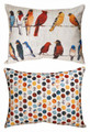 """FEATHERED FRIENDS"" REVERSIBLE BIRD PILLOW - 24"" x 18"" OBLONG PILLOW -  INDOOR OUTDOOR PILLOW"