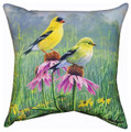 "GOLDFINCHES IN GARDEN PILLOW - 18"" SQUARE - GOLDFINCH INDOOR OUTDOOR PILLOW"