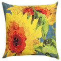 "SUNFLOWER GARDEN DECORATIVE PILLOW - 18"" SQUARE - BLUE - INDOOR OUTDOOR PILLOW"