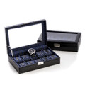 BLACK LEATHER TEN WATCH CASE WITH GLASS LID