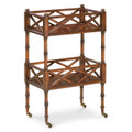 CHINESE CHIPPENDALE STYLE ROLLING SERVING CART - BAR CART - CHERRY FINISH - FREE SHIPPING*