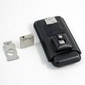 BLACK LEATHER 3-PIECE CIGAR SET - CIGAR CASE, CIGAR CUTTER & LIGHTER