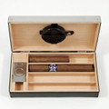 BLACK LEATHER CIGAR HUMIDOR WITH STAINLESS STEEL CUTTER