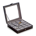BLACK LEATHER CUFF LINK CASE - HOLDS 20 PAIR