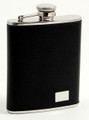 KINGS CROSS STAINLESS STEEL & TEXTURED BLACK LEATHER FLASK