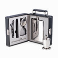 7-PIECE STAINLESS STEEL TRAVEL BAR SET IN BLACK LEATHER CASE