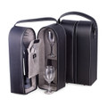 WINE CADDY WITH TWO GLASSES & BAR TOOL - BLACK LEATHER CARRYING CASE