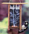 BIRD FEEDER WITH ETCHED GLASS BIRD & BAMBOO PANEL
