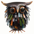 SPIKY WOODLAND OWL SCULPTURE