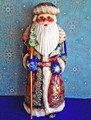 RUSSIAN SANTA WITH CHRISTMAS TREE STAFF - HAND CRAFTED & HAND PAINTED WOODEN SANTA