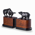 """ WALL STREET"" BULL AND BEAR BOOKENDS - BRASS & WOOD BOOK ENDS"