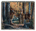 """ON HIGH ALERT"" TAPESTRY THROW BLANKET - 60"" X 50"" - DEER - LODGE DECOR"