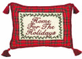 """HOME FOR THE HOLIDAYS"" PILLOW - PETIT-POINT CHRISTMAS PILLOW"