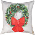 "CHRISTMAS WREATH PILLOW - 18"" SQUARE - INDOOR OUTDOOR PILLOW"