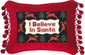 """I BELIEVE IN SANTA"" PILLOW - PETIT-POINT CHRISTMAS PILLOW"