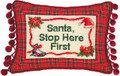 """SANTA, STOP HERE FIRST"" PILLOW - PETIT-POINT CHRISTMAS PILLOW"