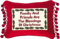 """FAMILY AND FRIENDS"" PILLOW - PETIT-POINT CHRISTMAS PILLOW"