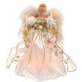 """CHRISTMAS TREE TOPPERS - 10 LIGHT IVORY & GOLD ANGEL TREE TOPPER - 12""""H"""