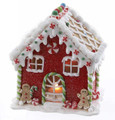 CHRISTMAS DECORATIONS - RED LED LIGHTED GINGERBREAD HOUSE