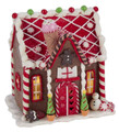 CHRISTMAS DECORATIONS - LED LIGHTED GINGERBREAD HOUSE DECORATED WITH CANDY & ICE CREAM