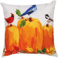"DECORATIVE PILLOWS - AUTUMN BIRDS & PUMPKINS INDOOR OUTDOOR PILLOW - 18"" SQUARE"