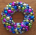 "CHRISTMAS WREATHS - 24"" DIAMETER MULTICOLOR ORNAMENT WREATH - SHATTERPROOF ORNAMENTS"