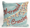 "THROW PILLOWS - ""MERMAID CROSSING"" HAND TUFTED PILLOW - 18"" SQUARE"