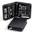 11-PIECE MENS MANICURE SET AND GROOMING KIT IN BLACK LEATHER CASE