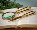 """SOUTHAMPTON"" LETTER OPENER & MAGNIFYING GLASS SET - BONE & BRASS DESK ACCESSORY SET"