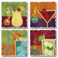 """HAPPY HOUR COCKTAILS"" TUMBLED STONE COASTER SET - PINA COLADA - MOJITO - COSMO - BLUE LAGOON"