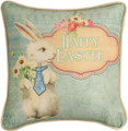 """HAPPY EASTER"" PILLOW - VINTAGE BUNNY RABBIT PILLOW"