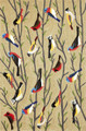 """BIRDS OF A FEATHER"" INDOOR OUTDOOR RUG - 5' x 7'6"" - BIRD RUG"