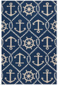 """ANCHORS AWEIGH"" INDOOR OUTDOOR RUG - 5' X 7'6"" - NAUTICAL ANCHOR RUG"