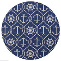 """ANCHORS AWEIGH"" INDOOR OUTDOOR RUG - 7'6"" ROUND - NAUTICAL ANCHOR RUG"