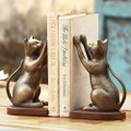 CURIOUS CAT BOOKENDS - CAT BOOK ENDS