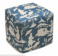 """ROYAL PAVILION"" CHINOISERIE UPHOLSTERED OTTOMAN - BLUE LINEN COVER"