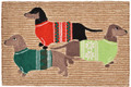 """DASHING DACHSHUNDS"" RUG - DACHSHUND TRIO IN CHRISTMAS SWEATERS - 24"" x 36"""
