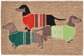 """DASHING DACHSHUNDS"" RUG - DACHSHUND TRIO IN CHRISTMAS SWEATERS - 30"" x 48"""