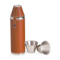 """BOND STREET"" STAINLESS STEEL & TAN LEATHER FLASK WITH TWO CUPS"