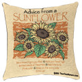"ADVICE FROM A SUNFLOWER TAPESTRY PILLOW - 17"" SQUARE THROW PILLOW"