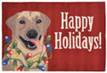 """HAPPY HOLIDAYS"" LABRADOR RETRIEVER RUG - 30"" x 48"" - HAND TUFTED RUG"