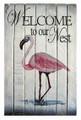 PINK FLAMINGO WELCOME SIGN - NAUTICAL WOODEN SLAT WALL SIGN