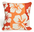 """TROPICAL HIBISCUS"" THROW PILLOW - MANGO - 18"" SQUARE - INDOOR OUTDOOR PILLOW"