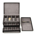 """KILBURN MANOR"" BLACK LEATHER WATCH BOX - VALET BOX - CUFF LINK BOX"