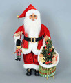 CHRISTMAS DECORATIONS - SANTA WITH NUTCRACKER, TOYS & LIGHTED CHRISTMAS TREE